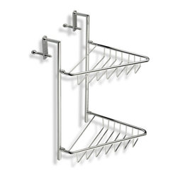 StilHaus - Over-the-Door Chrome Wire Corner Double Shower Basket - Wall mounted contemporary style wire corner double shower basket.