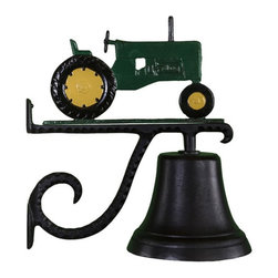 Montague Metal - Cast Bell with Green Tractor Ornament - CB-1-50-GREEN - Shop for Windchimes Bells and Gongs from Hayneedle.com! Show your John Deere pride with this Cast Bell with Green Tractor Ornament. A fun way to welcome guests and call the kids in for dinner this bell and its scrolled bracket are made of durable aluminum and feature a weather-resistant baked-on black enamel finish.
