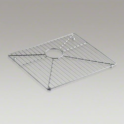 """KOHLER - KOHLER Vault(TM) stainless steel sink rack, 11-3/16"""" x 16-11/16"""" for 36"""" offset - Protect the beauty of your Vault apron-front sink with a sink rack. Designed to fit the small rectangular basin of the Vault sink, this stainless-steel rack helps safeguard your fragile dishes and protects the sink's surface."""