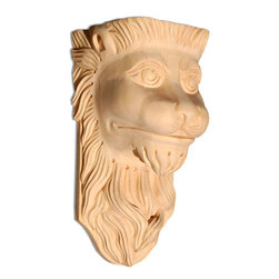 "Inviting Home - Jahanna Lion Wood Bracket - Maple - lion head wood bracket in hard maple 12-1/2""H x 6-1/4""D x 6-1/2""W Corbels and wood brackets are hand carved by skilled craftsman in deep relief. They are made from premium selected North American hardwoods such as alder beech cherry hard maple red oak and white oak. Corbels and wood brackets are also available in multiple sizes to fit your needs. All are triple sanded and ready to accept stain or paint and come with metal inserts installed on the back for easy installation. Corbels and wood brackets are perfect for additional support to countertops shelves and fireplace mantels as well as trim work and furniture applications."
