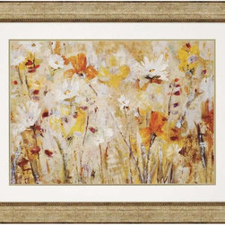 """Paragon Decor - Jostle Artwork - Brighten up those boring walls with this colorful piece, """"Jostle"""" which depicts an artist's rendering of a patch of white and saffron-gold flowers reaching unavailingly to the sun. The flowers blend with a background of ambers and tans, making them appear to layer upon the canvas. This piece measures surrounded by a white matte and an antiqued gold frame. This piece measures 47 inches wide, 1 inch deep, and 37 inches high."""
