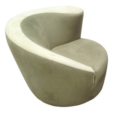 Eco Friendly Furniture and Lighting - United States 20th Century Vladimir Kagan designed Nautilus lounge chair upholstered in a sage green silk velvet fabric. The chair is seating on a corkscrew swivel base which does allows it to swivel to 180 degrees.