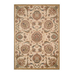 """Nourison - Nourison Graphic Illusions GIL17 5'3"""" x 7'5"""" Beige Area Rug 13095 - Oriental-inspired arabesques and blossoms grace this utterly elegant area rug in incandescent hues of gold, beige, blue, pale green and ivory. Detailed hand carving and a high-low loop pile construction create a marvelous tone and texture."""