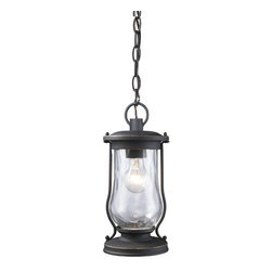 """Elk Lighting - Elk Lighting 43017/1 14"""" Height Country / Rustic Outdoor 1 Light Lantern Pendant - 14"""" Height Country / Rustic Outdoor 1 Light Lantern Pendant with a Round Shade from the Farmstead CollectionLanterns have been widely used for portable lighting for hundreds of years until the time electricity reached rural farming areas.  Its simple design and function made it one of the most practical and widely used devices in history.  This series carries on this historic design style with clear water glass and period, authentic matte black finish.Features:"""