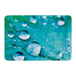 "KESS InHouse - Iris Lehnhardt ""Water Droplets Aqua"" Teal Memory Foam Bath Mat (17"" x 24"") - These super absorbent bath mats will add comfort and style to your bathroom. These memory foam mats will feel like you are in a spa every time you step out of the shower. Available in two sizes, 17"" x 24"" and 24"" x 36"", with a .5"" thickness and non skid backing, these will fit every style of bathroom. Add comfort like never before in front of your vanity, sink, bathtub, shower or even laundry room. Machine wash cold, gentle cycle, tumble dry low or lay flat to dry. Printed on single side."
