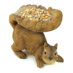 KOOLEKOO - Woodland Squirrel Bird Feeder - A plump brown squirrel shares his bounty with his feathered pals, cupping a generous serving of birdseed in his fluffy tail. Lifelike feeder is a lovable outdoor accent!