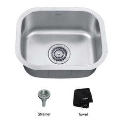 Kraus KBU16 Undermount Single Bowl 18 gauge Stainless Steel Kitchen Sink In Stai -