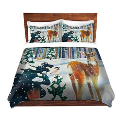 DiaNoche Designs - Duvet Cover Microfiber by Harriet Peck Taylor - Doe & Chick - DiaNoche Designs works with artists from around the world to bring unique, artistic products to decorate all aspects of your home.  Super lightweight and extremely soft Premium Microfiber Duvet Cover (only) in sizes Twin, Queen, King.  Shams NOT included.  This duvet is designed to wash upon arrival for maximum softness.   Each duvet starts by looming the fabric and cutting to the size ordered.  The Image is printed and your Duvet Cover is meticulously sewn together with ties in each corner and a hidden zip closure.  All in the USA!!  Poly microfiber top and underside.  Dye Sublimation printing permanently adheres the ink to the material for long life and durability.  Machine Washable cold with light detergent and dry on low.  Product may vary slightly from image.  Shams not included.