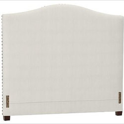 """Raleigh Nailhead Camelback Headboard, King, Washed Linen/Cotton Ivory - Crafted by our own master upholsterers in the heart of North Carolina, our upholstered bed and headboard is available in a graceful camelback silhouette. Crafted with a kiln-dried hardwood frame. Headboard, footrail and siderails are thickly padded and tightly upholstered with your choice of fabric. Nailhead detail trims the outer edges of the headboard. Exposed block feet have a hand-applied espresso finish. Headboard also available separately. The headboard-only option is guaranteed to fit with our PB metal bedframe using the headboard hardware. Bed is designed for use with a box spring and mattress. This is a special-order item and ships directly from the manufacturer. To see fabrics available for Quick Ship and to view our order and return policy, click on the Shipping Info tab above. This item can also be customized with your choice of over {{link path='pages/popups/fab_leather_popup.html' class='popup' width='720' height='800'}}80 custom fabrics and colors{{/link}}. For details and pricing on custom fabrics, please call us at 1.800.840.3658 or click Live Help. View and compare with other collections at {{link path='pages/popups/bedroom_DOC.html' class='popup' width='720' height='800'}}Bedroom Furniture Facts{{/link}}. Crafted in the USA. Full: 57.5"""" wide x 83.5"""" long x 59"""" high Queen: 64.5"""" wide x 88.5"""" long x 59"""" high King: 80.5"""" wide x 88.5"""" long x 59"""" high Cal. King: 74.5"""" wide x 92.5"""" long x 59"""" high Full: 57.5"""" wide x 4.5"""" thick x 59"""" high Queen: 64.5"""" wide x 4.5"""" thick x 59"""" high King: 80.5"""" wide x 4.5"""" thick x 59"""" high Cal. King: 74.5"""" wide x 4.5"""" thick x 59"""" high"""