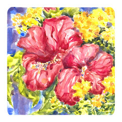 Caroline's Treasures - Flower - Hibiscus Foam Coasters, Set of 4 - Foam Coaster - 3 1/2 inches by 3 1/2 inches. Permanently dyed and fade resistant. Great to keep water from your beverage off your table and add a bit of flair to a gatering.  Match with one of the insulated coolers or huggers for a nice gift pack.  Wash the coaster in the top of your dishwasher.  Design will not come off.  Made from our mouse pad material and is heat resistant.