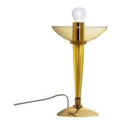 "AVMazzega - AVMazzega Ninfea 9002/T1 Table Lamp - The Ninfea table lamp by AVMazzega has been designed by Archivio Storico AVMazzega. AVMazzega propose in its collection timeless Venetian chandeliers from the past, in the present, to the future. The chandeliers of the '900 line have a natural, elegant line that makes them suitable for every room and the simple style of the shapes and the lack of the conventional Venetian decorations transform them in liquid light. Neat and harmonious shapes characterize the Ca' Balbi and Ca'Dona lines, while a sinouos glamour takes from in the Octopus line. On request, each chandelier can be mould according to the desire of the customer, making it even more special this essence of preciousness, color and handcraft. This table lamp comes with chrome gold metal frame.  Product Details:   The Ninfea table lamp by AVMazzega has been designed by Archivio Storico AVMazzega. AVMazzega propose in its collection timeless Venetian chandeliers from the past, in the present, to the future. The chandeliers of the '900 line have a natural, elegant line that makes them suitable for every room and the simple style of the shapes and the lack of the conventional Venetian decorations transform them in liquid light. Neat and harmonious shapes characterize the Ca' Balbi and Ca'Dona lines, while a sinouos glamour takes from in the Octopus line. On request, each chandelier can be mould according to the desire of the customer, making it even more special this essence of preciousness, color and handcraft. This table lamp comes with chrome gold metal frame.  Details:      Manufacturer:     AVMazzega        Designer:    Archivio Storico AVMazzega      Made in:    Italy      Dimensions:     Diameter: 7.9"" (20 cm) X Height: 13"" (33 cm)        Light bulb:     1 x E14 Max 60W        Material:     Murano glass"