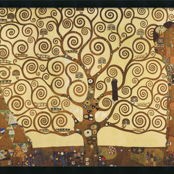 Amanti Art - The Tree of Life, 1905-1911 Framed with Gel Coated Finish by Gustav Klimt - The highly decorative, erotic art prints of Gustav Klimt bring beauty and intrigue to any setting. In this image, Klimt celebrates the Tree of Life as a primal force uniting man and woman, heaven and earth. Klimt's artwork was heavily influenced by a wide range of sources, from classical Greek Art and Byzantine mosaics to the Symbolist Art of Max Klinger.