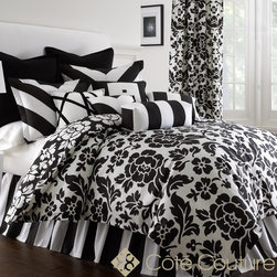Rose Tree - Prescott 6-piece Cotton Comforter Set - Enjoy the crisp and clean look of the modern Prescott 6-piece comforter set. Made of 100-percent cotton, the comforter features a beautiful floral pattern in a black and white finish. Machine washable for easy care and repeated use.