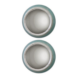 Uttermost - Fanchon Round Mirrors Set of 2 - Metal frames are finished in distressed, antiqued blue and aged ivory. Mirrors are convex.