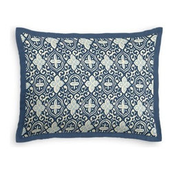 Blue Moroccan Mosaic Custom Sham - Stay classy, America!  Add a few Tailored Shams with crisp solid edging to create a bedset with the perfect mix of contemporary style and classic elegance. We love it in this royal and sky blue block print reminiscent of traditional Moroccan mosaics.