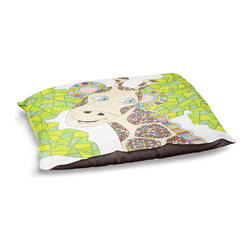 """DiaNoche Designs - Dog Pet Bed Fleece - The Kind Giraffe - DiaNoche Designs works with artists from around the world to bring unique, designer products to decorate all aspects of your home.  Our artistic Pet Beds will be the talk of every guest to visit your home!  BARK! BARK! BARK!  MEOW...  Meow...  Reallly means, """"Hey everybody!  Look at my cool bed!  Our Pet Beds are topped with a snuggly fuzzy coral fleece and a durable indoor our underside material.  Machine Wash upon arrival for maximum softness.  Made in USA."""