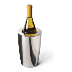Frontgate - Super Chill Wine Cooler - Frontgate - Double-walled 18/8 stainless steel provides maximum cold retention. Gel-based inner layer freezes like ice and holds it temperature. Won't leave messy water rings on tabletops or fine furnishings. Place in a freezer prior to use. Outdoor or indoor use. Our Super Chill Wine Cooler will be prized for its polished presence and superb temperature regulating abilities at your buffet table. This gleaming, seamless wine cooler is perfect for summer soirees staged outdoors or indoors..  . . . . Hand wash (view instructions).