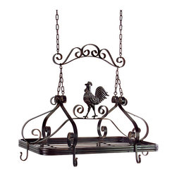 None - Handcrafted Americana Country Chicken Hanging Pot Rack - Featuring scroll detailing and a prominent chicken on top,this pot rack is whimsical and functional. This pot rack is handcrafted by artisans in China,helping keep their traditions alive.