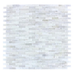"""Marbleville - Arabescato Carrara Splitface Marble Mosaic in 12"""" x 12"""" Sheet - Premium Grade Arabescato Carrara Splitface Mesh-Mounted is a splendid Tile to add to your decor. Its aesthetically pleasing look can add great value to any ambience. This Mosaic Tile is made from selected natural stone material. The tile is manufactured to high standard, each tile is hand selected to ensure quality. It is perfect for any interior projects such as kitchen backsplash, bathroom flooring, shower surround, dining room, entryway, corridor, balcony, spa, pool, etc."""