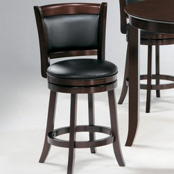 "Homelegance - Homelegance Edmond Swivel Pub Chair in Dark Cherry - Expanding the seating availability in your entertainment or dining space has become much less complicated with the Edmond Collection. Offered in a dark cherry finish with bi-cast vinyl seats, the varied designs of the chair backs allow for placement in a multitude of design settings. From casual to formal, the 24"" and 29"" seat height barstools offer the best selection out there. - 1136-29S.  Product features: Belongs to Edmond Collection; Warm Cherry Finish; Dark cherry finish; Bi-cast vinyl seats; Varied designs of the chair backs allow for placement in a multitude of design settings; From casual to formal, the 24"" and 29"" seat height barstools. Product includes: Pub Chair (1). Swivel Pub Chair in Dark Cherry is a part of 1009 Collection by 9."