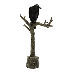 Home Decorators Collection - Crow on Branch Tabletop Decor - Our Crow on Branch Tabletop Decor offers a touch of delicious Halloween terror. Hunched over a gnarled tree, the hulking raven watches and waits. Resin in black and grey. Intricate sculpted details.
