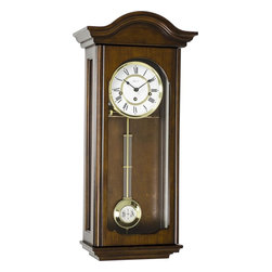 HERMLE - Hermle Brooke Mechanical Regulator Wall Clock - Antique Walnut Finish - Antique Walnut finish regulator is made with select hardwoods and veneers