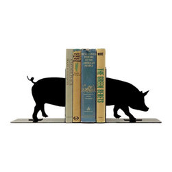 Rustic Pig Bookends - These Rustic Pig Bookends are cute and quirky. A great pick for a living room with personality, or for organizing your cookbooks. These bookends have a vintage feel and plenty of Americana charm.