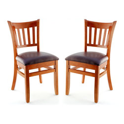 Seating Masters - US Made Vertical Slat Chair- Set of 2 (Cherry), Wine Vinyl Seat - The Premium Wood Ladder Back Chair offers a traditional design which will be sure to provide your customers with the comfort they desire.