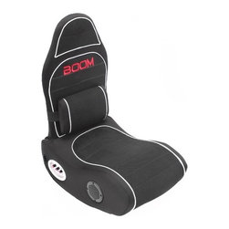 """LumiSource - Boom Bluetooth Gaming Chair - Features: -Connects to any video gaming system, MP3/DVD/CD player and most Bluetooth enabled devices such as cell phones, tablets and laptops.-Built-in lumbar massage pillow that responds to the intensity of the bass.-Fully adjustable vibration, volume, bass and treble.-Built-in USB charging port.-Folds for storage.-Sleek/slim silhouette.-Collection: Boom Chair.-Distressed: No.-Upholstery Color: Black/Silver.-Material: Wood, foam, canvas, mesh, electrical.-Number of Items Included: 1 chair, audio cords, power adaptor, instruction manual.-Connection Compatibility: X-Box, PlayStation, Nintendo, MP3/CD/DVD, Home Theatre.-Wireless Transmission Capability: No.-Powered: Yes -Power Source: Electricity.-Power Requirement: 12 V.-Ampere Requirement: 1.5 Amps.-Power Cord Included: Yes..-Adjustable Headrest: No.-Swivel Base: No.-Tilt Base: No.-Vibration: Yes -Adjustable Vibration: No..-Pedal Set Included: No.-Steering Controls: No.-Speakers: Yes -Number of Speakers: 2.-Concealed Speakers: No.-Adjustable Volume: Yes.-Adjustable Bass or Treble: Yes.-Subwoofer: Yes..-Remote Control: No.-Built In Controls: Yes.-Input or Output Jacks: Yes.-Headphone Jack: Yes.-Controller Storage: No.-Cup Holder: No.-Foldable: Yes.-Flip Up Arms: No.-Ergonomic Design: Yes.-Adjustable Height: No.-Weight Capacity: 250 lbs.-Swatch Available: No.-Commercial Use: No.-Recycled Content: No.-Eco-Friendly: Yes.-Product Care: Spot clean only.Specifications: -ISTA 3A Certified: Yes.Dimensions: -Overall Product Weight: 21 lbs.-Overall Height - Top to Bottom: 32"""".-Overall Width - Side to Side: 17"""".-Overall Depth - Front to Back: 24.5"""".-Seat Height: 8.5"""".-Folding : -Folded Height - Top to Bottom: 11"""".-Folded Width - Side to Side: 17"""".-Folded Depth - Front to Back: 24.5""""..Assembly: -Assembly Required: Yes.-Additional Parts Required: No.Warranty: -Product Warranty: 90 day limited."""