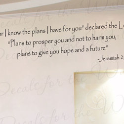 Decals for the Wall - Wall Decal Quote Sticker Vinyl Art Removable God's Plans for You Religious R42 - This decal says ''For I know the plans I have for you, declared the Lord, Plans to prosper you and not to harm you, plans to give you hope and a future. - Jeremiah 29:11''