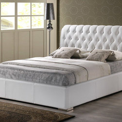 "Wholesale Interiors - Baxton Studio Bianca Platform Bed - With a beautifully-crafted headboard that pays homage to the long-gone eras of regality and extravagance, the Bianca Bed brings classic elegance to your bedroom. Combining a detailed, foam-padded headboard with simple rectangular frame, this modern platform bed is a fusion of the old and the new. Features: -Polyurethane foam padding.-Clean, wipe with a damp cloth.-Engineered wood frame.-Baxton Studio collection.-Powder Coated Finish: No.-Gloss Finish: No.-Frame Material: Wood.-Upholstered: Yes -Upholstered Section: Headboard, footboard, side rails.-Upholstery Material: Faux leather.-Tufted: Yes..-Number of Items Included: 1.-Mattress Included: No.-Box Spring Required: No.-Headboard Storage: No.-Footboard Storage: No.-Underbed Storage: No.-Slats Required: Yes -Number of Slats Required: 1.-Slats Included: Yes..-Adjustable Footboard Height: No.-Wingback: No.-Attached Nightstand: No.-Cable Management: No.-Built in Outlets: No.-Lighted Headboard: No.-Distressed: No.-Collection: Baxton Studio.-Recycled Content: No.-Canopy Frame: No.-Hidden Storage: No.-Swatch Available: No.-Commercial Use: No.-Product Care: Spot clean.Specifications: -FSC Certified: No.-EPP Compliant: No.-CPSIA or CPSC Compliant: No.-CARB Compliant: No.-JPMA Certified: No.-ASTM Certified: No.-ISTA 3A Certified: No.-PEFC Certified: No.-Green Guard Certified: No.Dimensions: -Overall Height - Top to Bottom (Size: King): 43"".-Overall Height - Top to Bottom (Size: Queen): 43"".-Overall Width - Side to Side (Size: King): 83"".-Overall Width - Side to Side (Size: Queen): 66"".-Overall Depth - Front to Back (Size: King): 92.7"".-Overall Depth - Front to Back (Size: Queen): 92.7"".-Overall Product Weight (Size: King): 152 lbs.-Overall Product Weight (Size: Queen): 138 lbs.-Headboard Dimensions Height (Size: King): 43"".-Headboard Dimensions Height (Size: Queen): 43"".-Headboard Width Side to Side (Size: King): 83"".-Headboard Width Side to Side (Size: Queen): 66"".-Footboard Height (Size: King): 13.7"".-Footboard Height (Size: Queen): 13.7"".Assembly: -Assembly Required: Yes.-Tools Needed: Screwdriver.-Additional Parts Required: No."