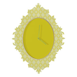 DENY Designs - Caroline Okun Yellow Spirals Baroque Clock - It's about time to check out the baroque clock collection! With a sleek mix of baltic birch ply trim that's unique to each piece and a glossy aluminum face, this baroque clock is gonna turn up the fancy on that plain Jane wall of yours.