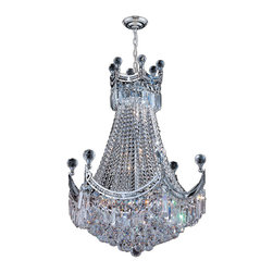 """Worldwide Lighting - Empire 9 Light Chrome Finish and Clear Crystal Chandelier 20"""" D x 26"""" H Medium - This stunning 9-light crystal chandelier only uses the best quality material and workmanship ensuring a beautiful heirloom quality piece. Featuring a radiant chrome finish and finely cut premium grade crystals with a lead content of 30%, this elegant chandelier will give any room sparkle and glamour. Worldwide Lighting Corporation is a privately owned manufacturer of high quality crystal chandeliers, pendants, surface mounts, sconces and custom decorative lighting products for the residential, hospitality and commercial building markets. Our high quality crystals meet all standards of perfection, possessing lead oxide of 30% that is above industry standards and can be seen in prestigious homes, hotels, restaurants, casinos, and churches across the country. Our mission is to enhance your lighting needs with exceptional quality fixtures at a reasonable price."""