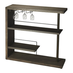 Butler Furniture - Broadway Modern Bar Cabinet - Crafted from select solid woods and wood products with a stylish metal post and wine-glass holders, this sleek Bar Cabinet features a rich Cocoa Finish.