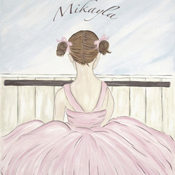 Personalized Ballerina-Brunette - Decorate your little Ballerina's room with this art.  This art is simply timeless enjoyed by  the young and the young at heart.  Ballerina is available with Blonde, Brunette or Red hair.