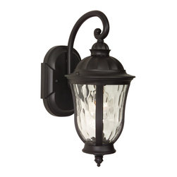 Exteriors - Exteriors Frances Traditional Outdoor Wall Sconce - Small X-29-4006Z - This small Craftmade Frances Traditional Outdoor Wall Sconce is a captivating piece with a stately appearance. Notice the beautiful and shapely hammered clear glass shade encased in the frame in a rich and warm oiled bronze finish that's supported by a gently scrolled arm. It's a light fixture that's sure to cast a warm and welcoming glow of light in your home.