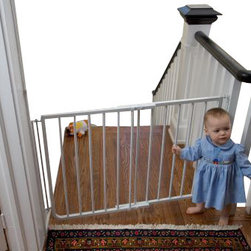Cardinal Gates - Stairway Special Baby Gate for Indoors - Prevent falls and curious explorers of the child and pet variety with this handy indoor gate. You'll love the one-hand operation, which allows you to carry things up and down the stairs and still utilize the safety gate. This sturdy aluminum gate is available in either white or black, to seamlessly blend with your decor.