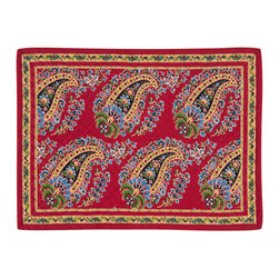 KAF Home - Fete Red Paisley Quilted Placemat, Set of 4 - The classic paisley design on these placemats originated in Provence around 1880, but the deep red dies originated in Turkey, providing an elegant combination of cultural influence. The paisley design is appropriate for casual or formal setting.