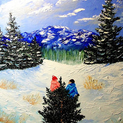 overstockArt.com - Miller - Bringing Home the Tree - Bringing Home the Tree is a beautiful painting of winter landscape and two children struggling to get a Christmas tree to their home. Enjoy the beauty of this painting reproduced as a fine canvas print. Peggy Miller is a self taught artist that worked in many different artistic jobs from graphic design, costume design and many others. However, painting has become her passion. She is a nature lover that believes in conservation and preservation and hopes that her work will help others see the world as she does, with the wonder of a child. In her paintings she tries to capture a soft, beautiful, serene feeling that beauty of nature gives to her.