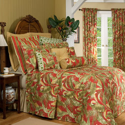 Captiva Bedspread Thomasville at Home - Escape from your everyday into a room filled with nature's vitality of plant life. The vibrant red ground of the Captiva pattern hosts windswept tropical leaves in a palette of mossy green and golden sunrise.  Made in the U.S.A., by Thomasville at Home from Kellsson Home Linens.