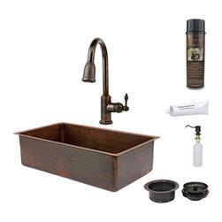 "Premier Copper Products - Premier Copper Products KSP2_KSDB33199 33"" Copper Kitchen Single Basin Sink Pkg - Premier Copper Products KSP2_KSDB33199 33"" Copper Kitchen Single Basin Sink Package"