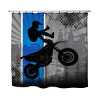 Extremely Stoked - Eco Friendly Motocross Shower Curtain - Get Extremely Stoked about our Motocross Shower Curtain from our Extreme Sports MX Bed and Bath Collection.