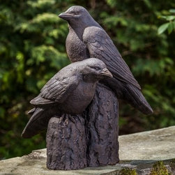 Campania International Nevermore Garden Statue - Every library or garden space needs its muse and the Campania International Nevermore Garden Statue is a perfectly dark way to add charm while you ponder your curious volumes of forgotten lore. This statue has two realistic ravens perched on logs and filled with character. This statue is large enough to make a statement in any setting and is handcrafted of cast stone concrete to be durable enough for indoor or outdoor use. It is available in several finish options and comes unsealed, which allows your ravens to naturally age and develop a gracefully antiqued patina. Nevermore.About Campania InternationalEstablished in 1984, Campania International's reputation has been built on quality original products and service. Originally selling terra cotta planters, Campania soon began to research and develop the design and manufacture of cast stone garden planters and ornaments. Campania is also an importer and wholesaler of garden products, including polyethylene, terra cotta, glazed pottery, cast iron, and fiberglass planters as well as classic garden structures, fountains, and cast resin statuary.Campania Cast Stone: The ProcessThe creation of Campania's cast stone pieces begins and ends by hand. From the creation of an original design, making of a mold, pouring the cast stone, application of the patina to the final packing of an order, the process is both technical and artistic. As many as 30 pairs of hands are involved in the creation of each Campania piece in a labor intensive 15 step process.The process begins either with the creation of an original copyrighted design by Campania's artisans or an antique original. Antique originals will often require some restoration work, which is also done in-house by expert craftsmen. Campania's mold making department will then begin a multi-step process to create a production mold which will properly replicate the detail and texture of the original piece. Depending on its size and complexity, a mold can take as long as three months to complete. Campania creates in excess of 700 molds per year.After a mold is completed, it is moved to the production area where a team individually hand pours the liquid cast stone mixture into the mold and employs special techniques to remove air bubbles. Campania carefully monitors the PSI of every piece. PSI (pounds per square inch) measures the strength of every piece to ensure durability. The PSI of Campania pieces is currently engineered at approximately 7500 for optimum strength. Each piece is air-dried and then de-molded by hand. After an internal quality check, pieces are sent to a finishing department where seams are ground and any air holes caused by the pouring process are filled and smoothed. Pieces are then placed on a pallet for stocking in the warehouse.All Campania pieces are produced and stocked in natural cast stone. When a customer's order is placed, pieces are pulled and unless a piece is requested in natural cast stone, it is finished in a unique patinas. All patinas are applied by hand in a multi-step process; some patinas require three separate color applications. A finisher's skill in applying the patina and wiping away any excess to highlight detail requires not only technical skill, but also true artistic sensibility. Every Campania piece becomes a unique and original work of garden art as a result.After the patina is dry, the piece is then quality inspected. All pieces of a customer's order are batched and checked for completeness. A two-person packing team will then pack the order by hand into gaylord boxes on pallets. The packing material used is excelsior, a natural wood product that has no chemical additives and may be recycled as display material, repacking customer orders, mulch,or even bedding for animals. This exhaustive process ensures that Campania will remain a popular and beloved choice when it comes to garden decor.Please note this product does not ship to Pennsylvania.