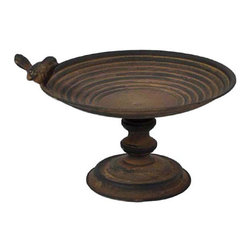 Shea's Wildflowers Company - Black Decorative Birdbath - While the real birds bathe outside, you can enjoy the rustic charm of this garden-inspired decorative bowl in your own home. Use as a display base for fruit or holiday trinkets or fill with your own little waterscape for an indoor oasis. �� 7'' H x 11'' diameter Metal Imported
