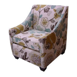 Georgia Pearl Armchair - Pearl - Wouldn't a pair of these fun floral upholstered armchairs next to a fireplace make the perfect seating area? They make me want to redo my entire house!