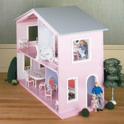 Real Good Toys QuickBuild Playhouse Kit - 1 Inch Scale - A child's imagination will outfit the Real Good Toys QuickBuild Playhouse Kit. The solid back of this versatile dollhouse will fit snugly against the wall leaving the front open for your growing interior designer. Four ample rooms decked out with cheery wallpaper leave plenty of room for imagination. This kit comes complete with step-by-step instructions and detailed drawings for less work and more play. For ages 3 and up. Recommended supplies: Glue and masking tape. Glue curtains and any landscaping or furnishings are not included. Gingerbread (if used) and Trim Strips are supplied in easy to cut lengths. The overall dimensions of each dollhouse include items that protrude such as porches and roof cresting. About Real Good ToysBased in Barre Vt. Real Good Toys has been handcrafting miniature homes since 1973. By designing and engineering the world's best and easiest to assemble miniature homes Real Good Toys makes dreams come true. Their commitment to exceptional detail the highest level of quality and ease of assembly make them one of the most recommended names in dollhouses. Real Good dollhouses make priceless gifts to pass on to your children and your children's children for years to come.