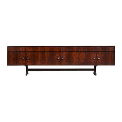 EcoFirstArt - Brazil Credenza - The intrigue and mystery of Brazil can grace your living room with this rich jacaranda wood credenza. Some of the beautiful details include inset wood handles and polished aluminum feet with rosewood tips and bronze-finish stretchers. The six doors and drawers will give you plenty of storage space.