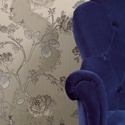 Textured Floral Creme Wallpaper - Give your walls a traditional look with a modern flare with wallpaper from the Regent Collection by Brewster