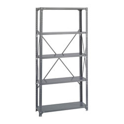 "Safco - Commercial 5 Steel Shelf Kit in Dark Gray Finish (18 in.) - Choose Depth: 18 in.. 5 Shelves. Made of steel. 350 lbs. Shelf capacity. Shelves can be repositioned in 1 in. increment. Includes 4 posts and cross braces. Corner brackets. 36 in. W x 12 in. D x 75 in. H (30 lbs.)Lights! Camera! Action! The box beam shelf design and double-sided compression clips support loads up to 350 lbs. per shelf (based on a 36""W x 12""D shelf evenly loaded). Shelves can be easily repositioned in one-inch increments. Unit stands 75"" in height and includes 4 posts and cross braces. Features corner brakets which help prevent rocking and improve overall stability and rigidity. A hat channel under every shelf increases overall strength."