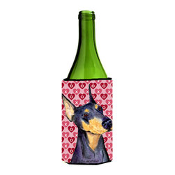 Caroline's Treasures - Doberman Hearts Love and Valentine's Day Portrait Wine Bottle Koozie Hugger - Doberman Hearts Love and Valentine's Day Portrait Wine Bottle Koozie Hugger SS4495LITERK Fits 750 ml. wine or other beverage bottles. Fits 24 oz. cans or pint bottles. Great collapsible koozie for large cans of beer, Energy Drinks or large Iced Tea beverages. Great to keep track of your beverage and add a bit of flair to a gathering. Wash the hugger in your washing machine. Design will not come off.